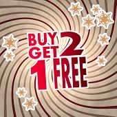 Red Vintage Wooden Buy Two Get One Free Label