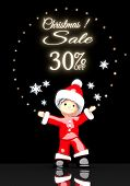 Santa Claus Under A Glaring Christmas Discount 30 Percent Off Sign