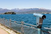 stock photo of lagos  - Lago Maggiore Maggiore Lake Italy. View from the promenade in front of Isola Bella the most beautiful of the three Isole Borromee