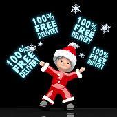 Santa Claus Juggles Glaring 100 Percent Free Delivery Sign
