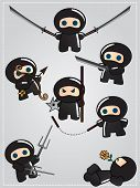 Collection of cute cartoon ninja warriors with various weapon, vector