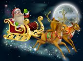 stock photo of rudolf  - Santa Claus sleigh scene of Santa in his sleigh being pulled through the sky with his reindeer - JPG