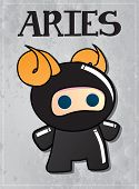 Zodiac sign Aries with cute black ninja character, vector