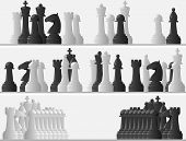 Set Banners Of Black And White Chess Pieces.
