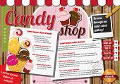 Website template design elements, vintage retro, candy shop, vector