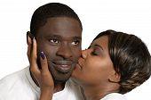 African Couple Kiss On Cheek