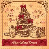 Retro Card With Christmas Tree