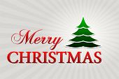 Merry Christmas With Christmas Tree Over Silver Rays, Horizontal