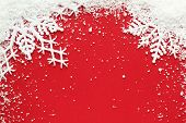 Snowflake and snow on red background