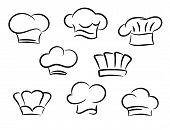pic of chef cap  - Chef and cook hats set isolated on white background - JPG