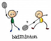 picture of badminton player  - Illustration of the badminton players on a white background - JPG