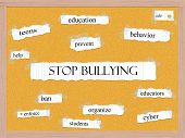 image of stop bully  - Stop Bullying Corkboard Word Concept with great terms such as education teens prevent and more - JPG