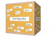 Stop Bullying 3D Cube Corkboard Word Concept