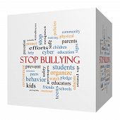 Stop Bullying 3D Cube Word Cloud Concept