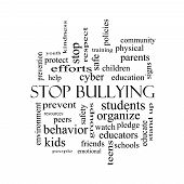 Stop Bullying Word Cloud Concept In Black And White