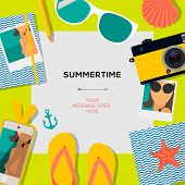 Summertime travel template with traveling accessories