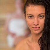 Closeup of young woman at sauna