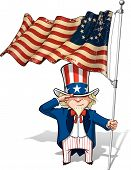foto of uncle  - Vector Cartoon Illustration of Uncle Sam saluting and holding a Betsy Ross American flag - JPG
