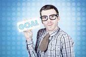 Nerd Businessman Holding Goal Sign Board