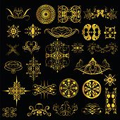 gold ornaments on a black background. set1