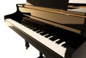 stock photo of grand piano  - 3D render of the black piano on a white background - JPG