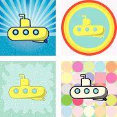 submarine graphic with retro styles