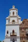 The beautiful tower of the Mission in Tucson, Arizona..