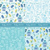 Baby Boy Cute Seamless Pattern Set.Sleep Newborn Items Collection