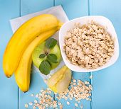 oatmeal, banana and apple. milk products