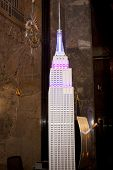 NEW YORK-APR 21, 2014: A replica of the Empire State Building lit in blue and purple lights to pay t