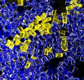 plastic polymer granule product blue and yellow