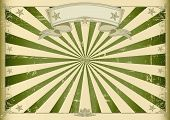 Horizontal textured vintage background. A vintage horizontal poster with green sunbeams for you. Per