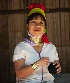 MAE HONG SON, THAILAND - DEC 4, 2013: Unidentified Karen tribal woman in Mae Hong Son, Thailand, Chi