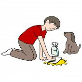 An image of a man cleaning his dog's mess.