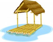 Illustration Featuring a Floating Hut Attached to a Bamboo Raft