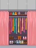 stock photo of partially clothed  - Illustration Featuring a Closet Full of Clothes and Accessories Partially Concealed by a Curtain - JPG
