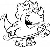 Cartoon triceratops playing with a hula hoop.