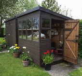 Garden Shed Exterior with Door Open.