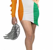Futuristic Young Woman With Flag From Ivory Coast On Her Dress