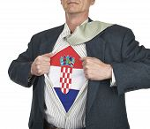 Businessman Showing Croatia Flag Superhero Suit Underneath His Shirt
