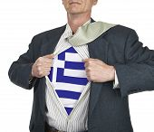 Businessman Showing Greece Flag Superhero Suit Underneath His Shi
