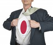 Businessman Showing Japan Flag Superhero Suit Underneath His Shi