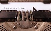 stock photo of time machine  - Vintage inscription made by old typewriter once upon a time - JPG