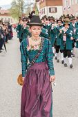 Miesbach / Germany / Bavaria - 05.May: Young Mark Eden provider in Dirndl