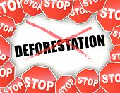 stock photo of deforestation  - Vector illustration of stop deforestation background concept - JPG
