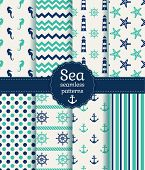 image of seahorses  - Set of sea and nautical seamless patterns in white turquoise and dark blue colors - JPG