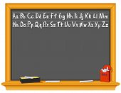 Blackboard, Alphabet, Eraser, Chalk Box