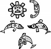Native Shoshone Tribal Drawings. Fish, Sun, Moon
