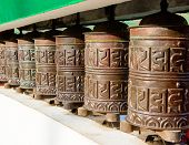 Prayer wheel in of Sikkim. The Indian Himalayas