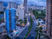 Waikiki skyline in the evening